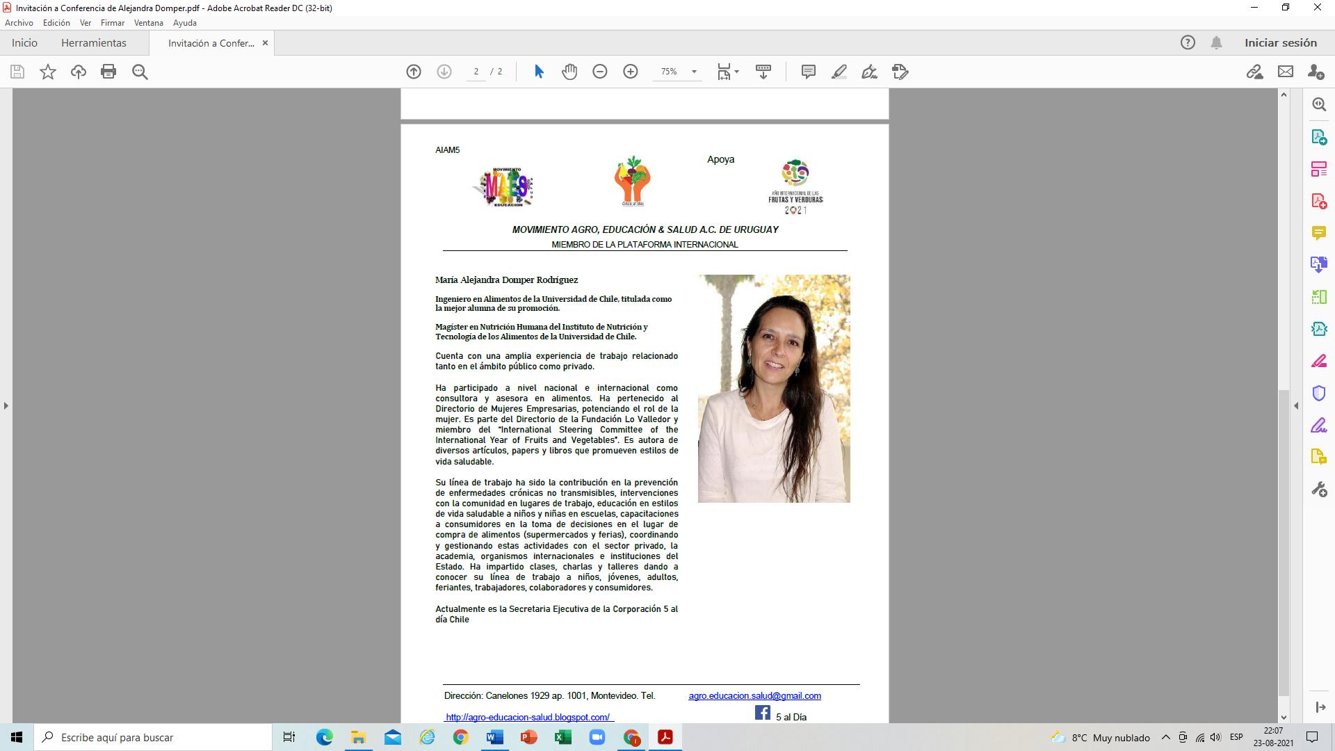 """Conferencia online """"Estrategias para aumentar el consumo de F&V en la Comunidad Escolar"""